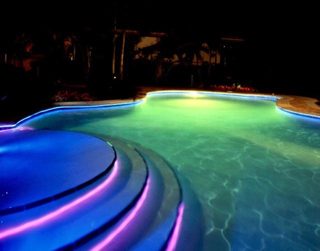 Pool light show on deluxe interior - Inground swimming pool light fixture ...